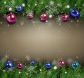 Предпосылка рождества с ветвями ели Стоковые Изображения