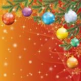 Предпосылка рождества с ветвями и шариками Стоковая Фотография RF