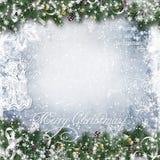 Предпосылка рождества с ветвями, снегом и ангелом дерева Стоковая Фотография RF
