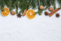 Предпосылка рождества с елью разветвляет, плодоовощи апельсина и снег Стоковая Фотография