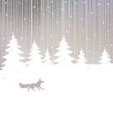 Предпосылка рождества с лисой и лесом зимы Стоковые Изображения RF