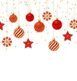 Предпосылка рождества с орнаментальными шариками, звездами и снежинками Стоковое Фото