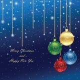 Предпосылка рождества с лоснистыми шариками стоковые фотографии rf