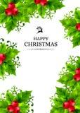 Предпосылка рождества с падубом выходит украшения Стоковые Фото