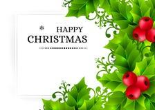 Предпосылка рождества с падубом выходит украшения Стоковые Изображения