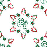 Предпосылка рождества с петухом картина безшовная Стоковые Фотографии RF