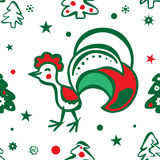 Предпосылка рождества с петухом картина безшовная Стоковые Изображения RF