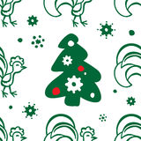 Предпосылка рождества с петухом картина безшовная Стоковое фото RF