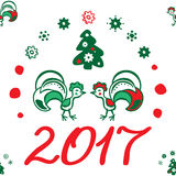Предпосылка рождества с петухом картина безшовная Стоковое Фото