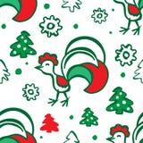 Предпосылка рождества с петухом картина безшовная Стоковая Фотография RF