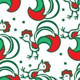 Предпосылка рождества с петухом картина безшовная Иллюстрация вектора
