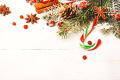 Предпосылка рождества с праздничными украшениями Стоковое фото RF