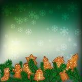 Предпосылка рождества с пряниками Стоковое Изображение