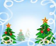 Предпосылка рождества с рождественской елкой, Стоковые Фото