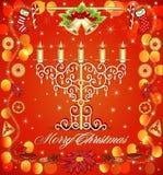 Предпосылка рождества с свечами и колоколами пряника Стоковые Изображения RF