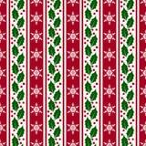 Предпосылка рождества с снежинками и падубом безшовный вектор иллюстрация штока
