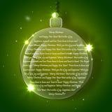 Предпосылка рождества с стеклянными шариками вечера Стоковые Изображения