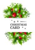 Предпосылка рождества с украшениями ели и падуба Стоковое Фото