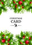 Предпосылка рождества с украшениями ели и падуба Стоковое Изображение