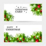 Предпосылка рождества с украшениями ели и падуба Стоковые Изображения