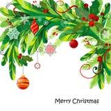 Предпосылка рождества с хворостинами ели Стоковые Фотографии RF