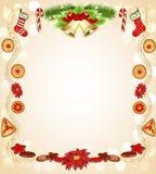 Предпосылка рождества с цветком и колоколами пряника Стоковое Изображение