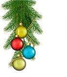 Предпосылка рождества с шариками и ветвями. иллюстрация вектора