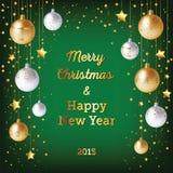 Предпосылка рождества с шариками и confetti золота иллюстрация вектора