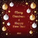 Предпосылка рождества с шариками и confetti золота бесплатная иллюстрация