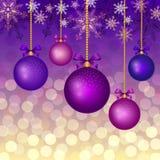 Предпосылка рождества с шариками Стоковое Изображение RF