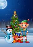 Предпосылка рождества с эльфом и снеговиком иллюстрация штока