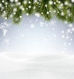 Предпосылка рождества с snow Стоковые Фотографии RF