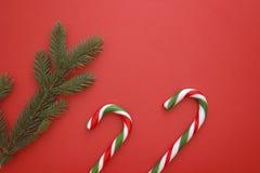 Предпосылка рождества с twings ели и тросточками конфеты на красном цвете Взгляд сверху, плоское положение Скопируйте космос для  Стоковое Фото