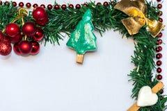 Предпосылка рождества, украшенная рамка Стоковое Изображение RF