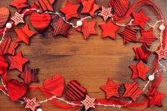 Предпосылка рождества элементов формы звезды деревянных и spac экземпляра Стоковое фото RF