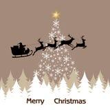Предпосылка рождественской елки, снежинки и Стоковые Фото