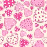 Предпосылка розовых сердец безшовная стоковые фотографии rf