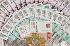 Предпосылка русских банкнот Стоковое Изображение