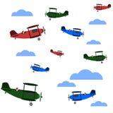 Предпосылка самолетов и облаков безшовная иллюстрация вектора
