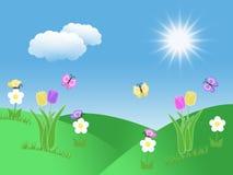 Предпосылка сада весны с холмами солнцем зеленой травы голубого неба бабочек тюльпанов и иллюстрацией облаков Стоковые Фотографии RF