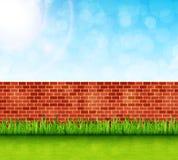 Предпосылка сада с вектором кирпичной стены и зеленой травы Стоковые Изображения