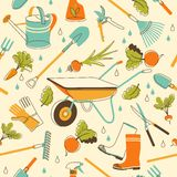 Предпосылка садовых инструментов безшовная в стиле doodle Стоковое Изображение RF