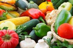 Предпосылка свежих овощей и зеленых цветов Стоковые Изображения
