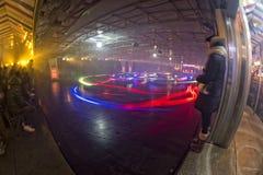 Предпосылка светов Luna Park масленицы ярмарки потехи moving Стоковая Фотография