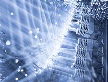 Сервер и волоконная оптика Стоковая Фотография RF