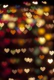 Предпосылка сердца bokeh Defocus фильтрованная светом Стоковое Изображение