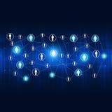 Предпосылка сетевых подключений абстрактная голубая Стоковое фото RF