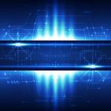 Предпосылка сини концепции абстрактной технологии также вектор иллюстрации притяжки corel Стоковая Фотография
