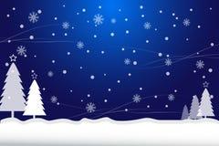 Предпосылка сини рождества снега и сосны иллюстрация штока