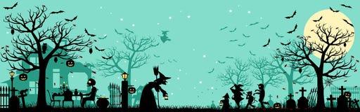 Предпосылка силуэта хеллоуина Стоковое фото RF